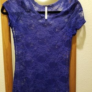 Blue lacy DNA Couture top
